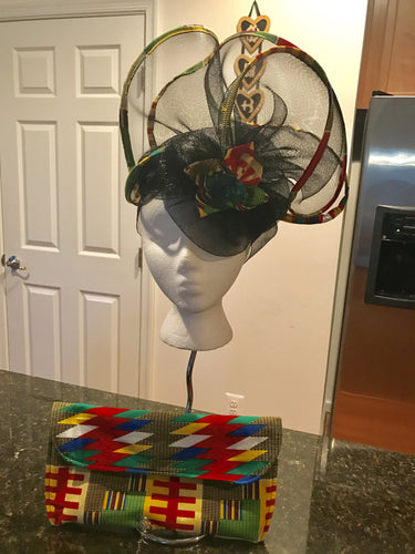 Large Kente trim hat and purse set