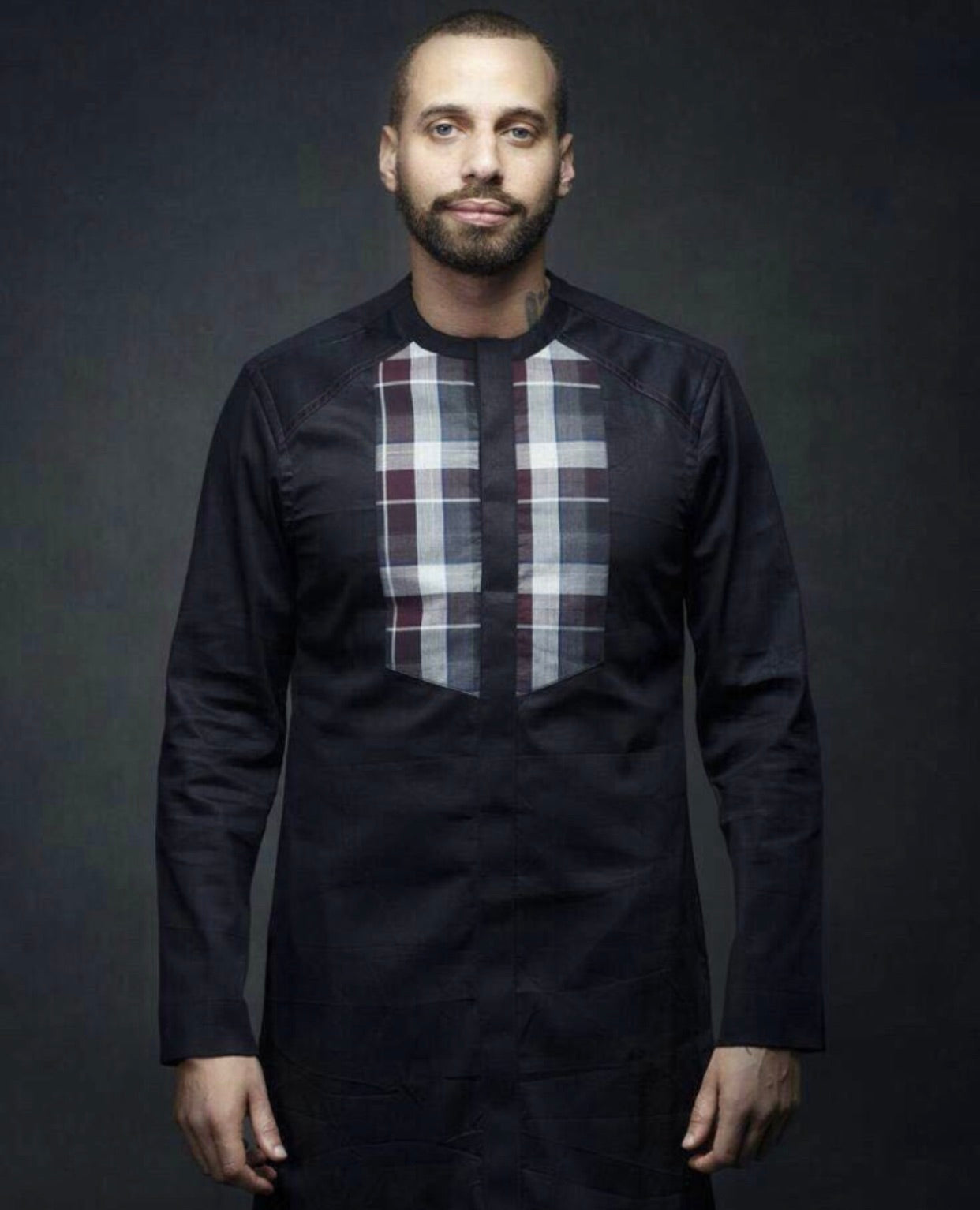 Men's Ankara Plaid Pride Top (Currently available in Navy Blue)