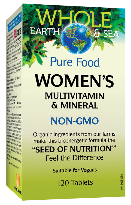 Whole Earth and Sea Pure Food Woman's Multivitamin and Mineral NON-GMO 120 Tablets