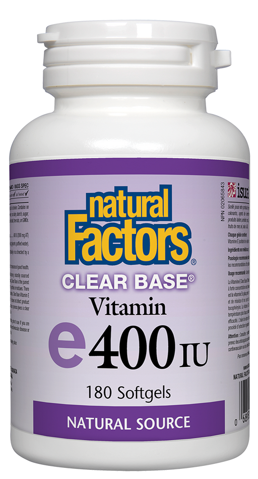 Natural Factors Vitamin E 400 IU Clear Base, 180 Softgels