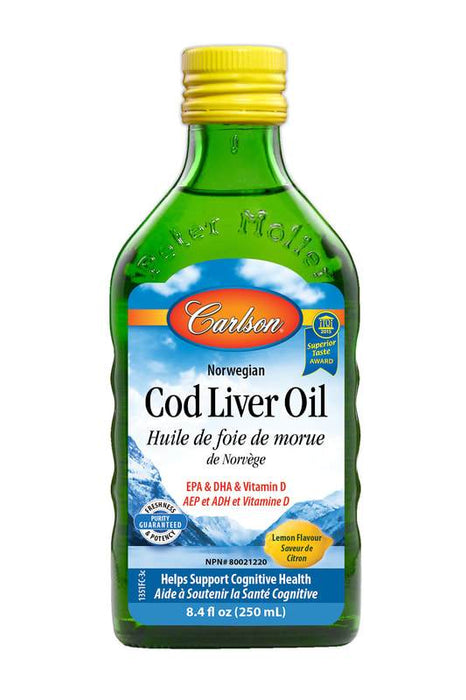 Carlson Laboratories Norwegian Cod Liver Oil Lemon 250 ml
