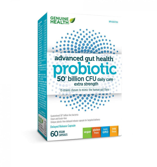 Genuine Health Advanced Gut Health Probiotic - 50 Billion CFU 60 Capsules