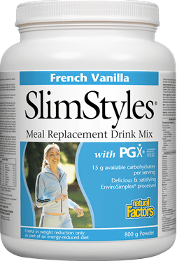 Natural Factors SlimStyles Meal Replacement with PGX - FRENCH VANILLA Flavour, 800g