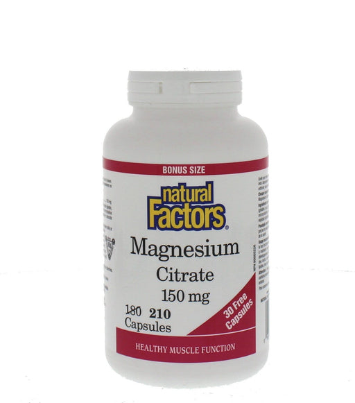 Natural Factors Magnesium Citrate150 mg Bonus Size 210 Capsules