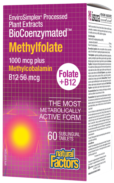 Natural Factors Methylfolate 1000 mcg + Methylcobalamin B12 50 mcg, 60 Tablets