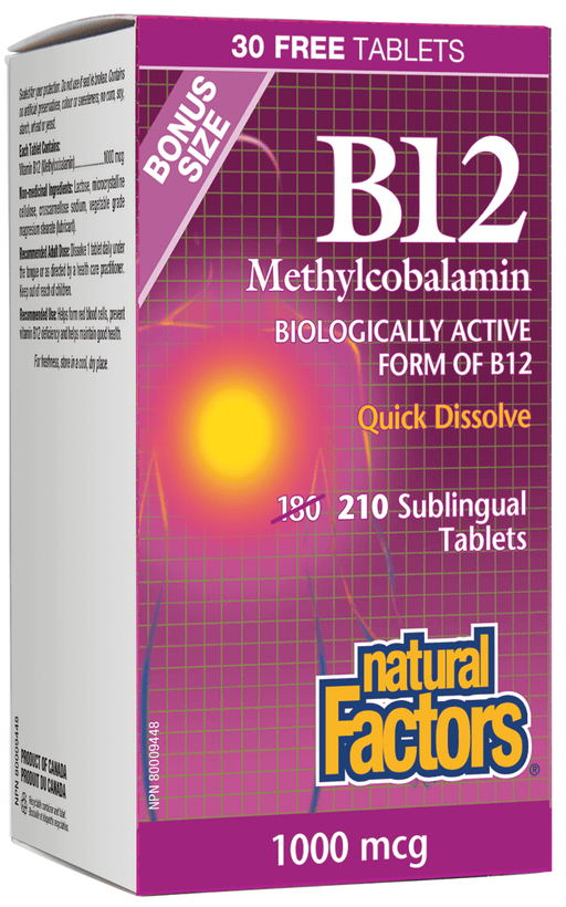 Natural Factors B12 Methylcobalamin 1000 mcg BONUS SIZE 210 Tablets