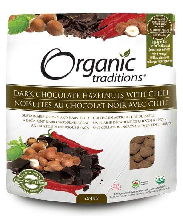 Organic Traditions Dark Chocolate Hazelnuts with Chili (Short Dated)