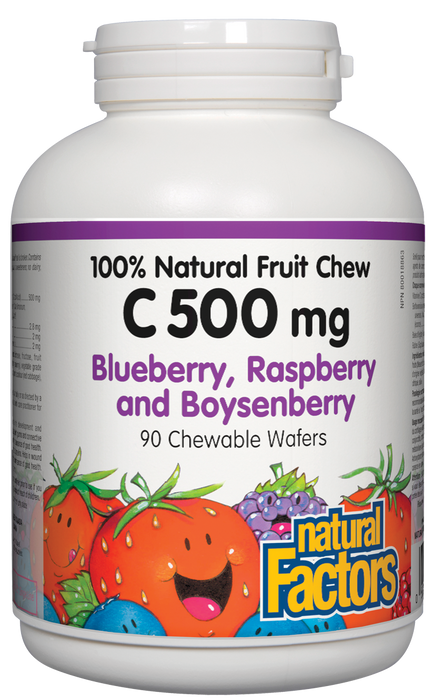 Natural Factors C 500mg Natural Fruit Chews - Blueberry, Raspberry and Boysenberry Flavour 90 Wafers