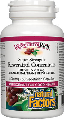 Natural Factors ResveratrolRich Super Strength Resveratrol Concentrate 500 mg 60 Capsules