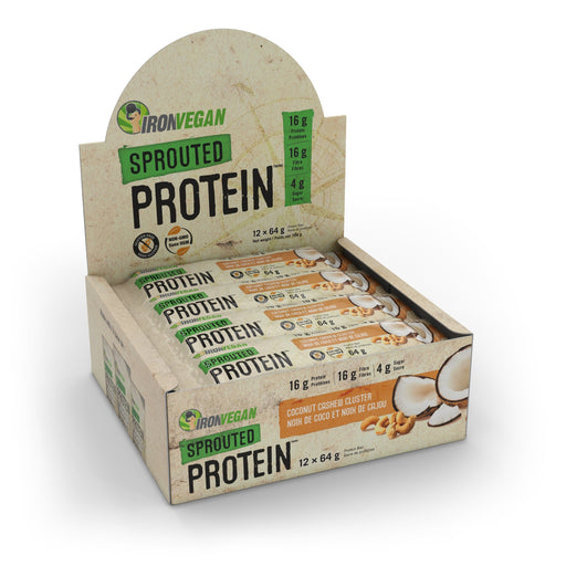 Iron Vegan Sprouted Protein Bar Coconut Cashew Cluster | Box with 12