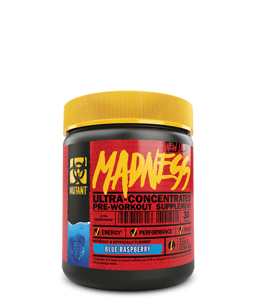 Mutant Madness Pre-Workout Supplement 225 g   Blue Raspberry