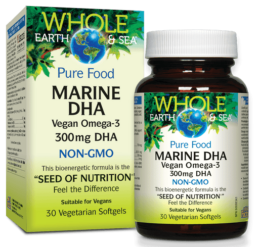 Whole Earth and Sea Marine DHA Vegan Omega-3 300 mg DHA 30 Softgels