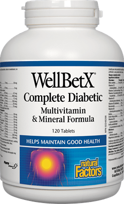 Natural Factors Well BetX Complete Diabetic Multi Vitamin & Mineral Formula, 120 Tablets