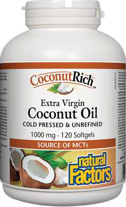 Natural Factors Coconut Rich Extra Virgin Coconut Oil Cold Pressed & Unrefined 1000 mg 120 Softgels