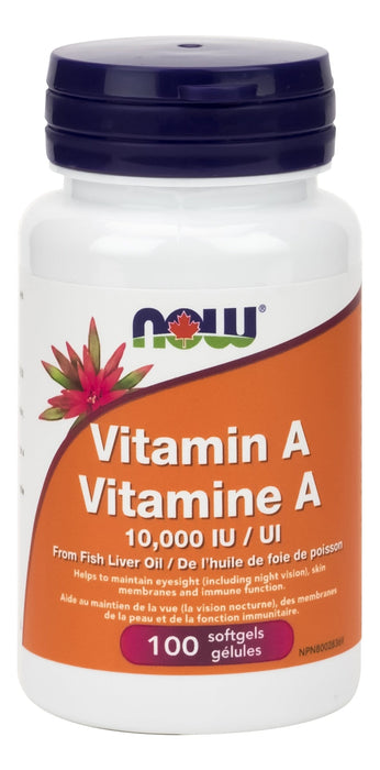 NOW Vitamin A 10000 IU 100 Softgels