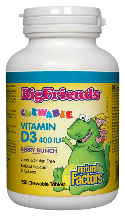 Natural Factors Big Friends Chewable Vitamin D3 400 IU Berry Bunch 250 Chewable Tablets
