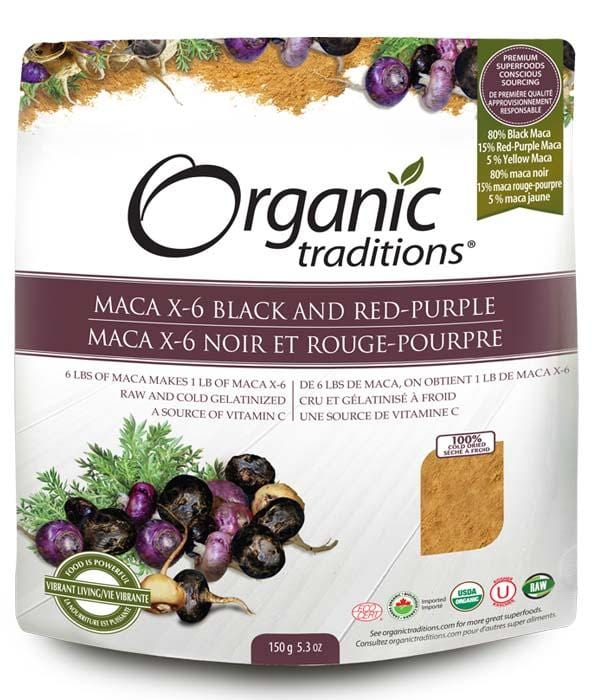 Organic Traditions Maca X-6 Black and Red-Purple (Raw Gelatinized)