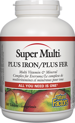 Natural Factors Super Multi Plus Iron, 90 Tablets