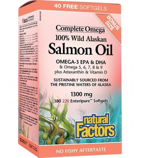 Natural Factors 100% Wild Alaskan Salmon Oil BONUS 220 Softgels