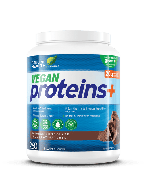 Genuine Health Vegan Proteins+ Natural Chocolate 260 g (Short Dated)