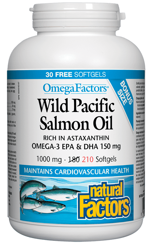 Natural Factors OmegaFactors Wild Pacific Salmon Oil 1000 mg BONUS