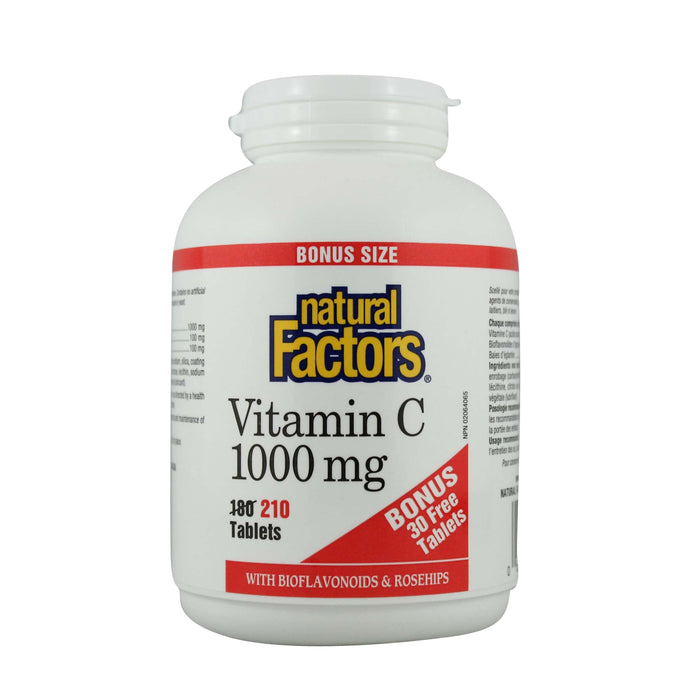 Natural Factors Vitamin C 1000 mg plus Bioflavonoids & Rosehips BONUS Size 210 Tablets