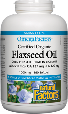 Natural Factors Cold Pressed Flaxseed Oil 1000 mg 180 Softgels