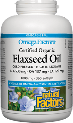 Natural Factors Cold Pressed Flaxseed Oil 1000 mg 360 Softgels