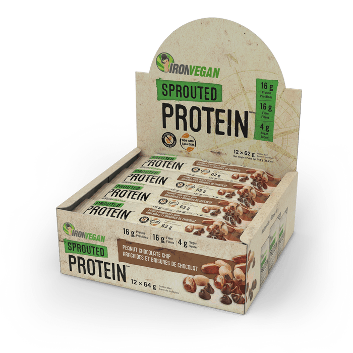 Iron Vegan Sprouted Protein Bar Peanut Chocolate Chip | Box with 12