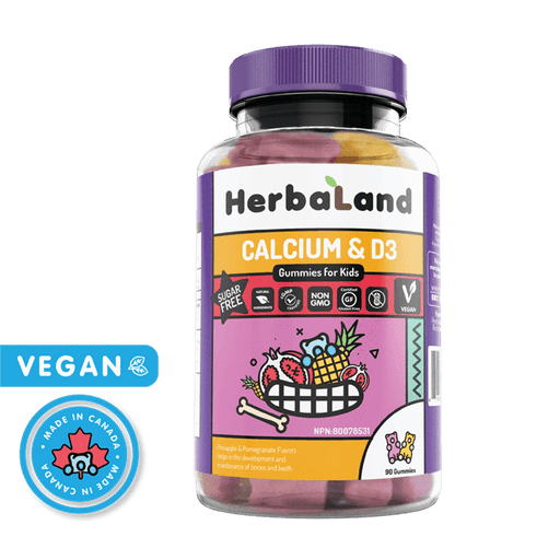 Herbaland Calcium & D3 Gummies for Kids Pineapple & Pomegranate Flavours 90 Gummies