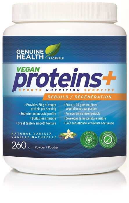Genuine Health Vegan proteins+ - Natural vanilla 260 g