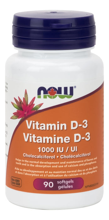 NOW Vitamin D3 1,000 IU - 90 softgels