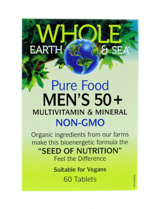 Whole Earth and Sea Pure Food Men's 50 plus, Multivitamin and Mineral NON-GMO