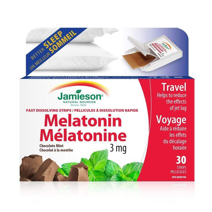 Jamieson Melatonin 3 mg Chocolate Mint 30 Strips (Short Dated)