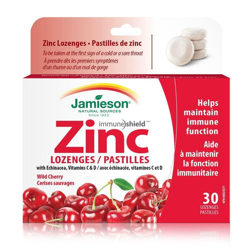 Jamieson Zinc with Echinacea, Vitamin C&D Wild Cherry 30 Lozenges
