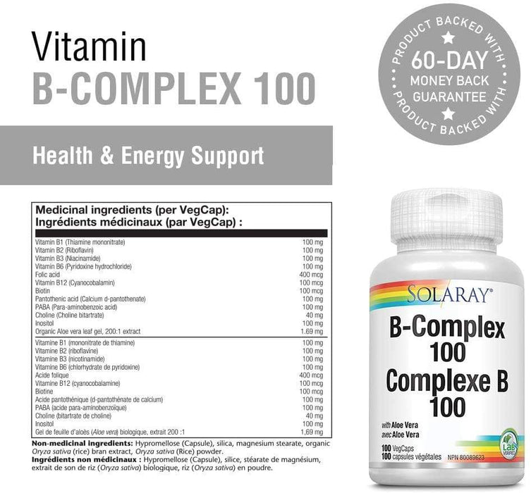 Solaray Vitamin B Complex 100mg 100 V-Caps