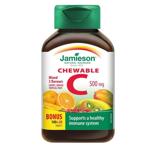 Jamieson Chewable C 500 mg Mixed 3 Flavours 120 Tablets