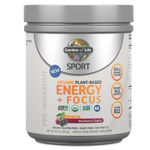 Garden of Life Sport Organic Plant Based Energy+Focus SugarFree Blackberry Cherry 231g