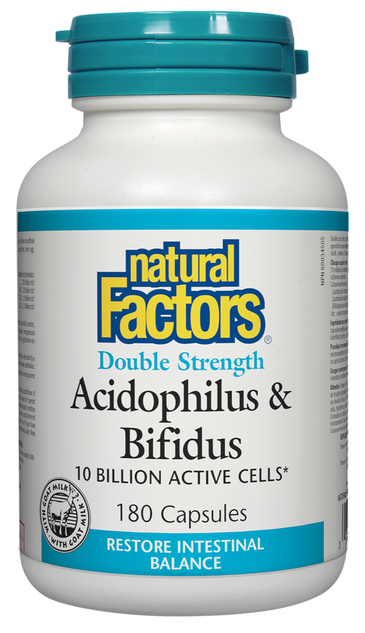 Natural Factors Acidophilus & Bifidus Double Strength 10 Billion Active Cells 180 Capsules