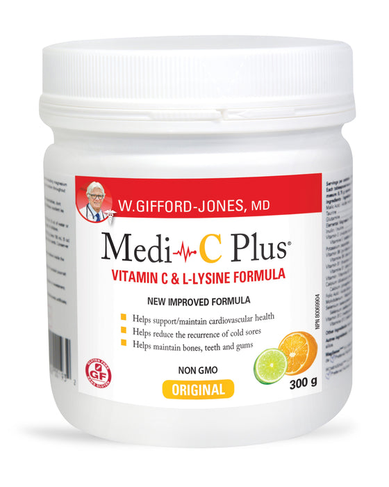 Preferred Nutrition Medi-C Plus Vitamin C & L-Lysine Formula Citrus 300 g