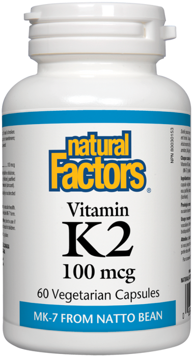 Natural Factors Vitamin K2, 100mcg, 60 Capsules