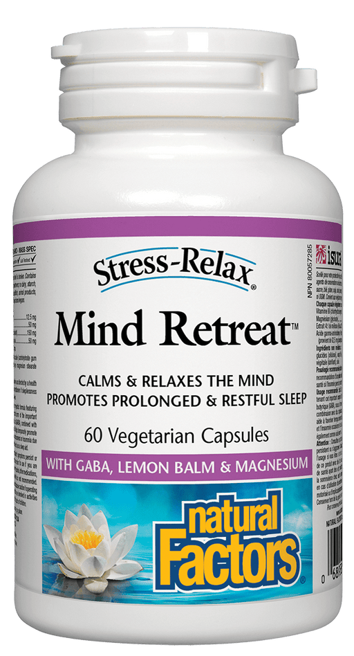Natural Factors Mind Retreat with GABA, Lemon Balm & Magnesium 60 Capsules