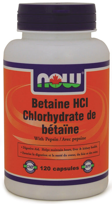 NOW Betaine HCL 648 mg with Protease 120 V-Caps