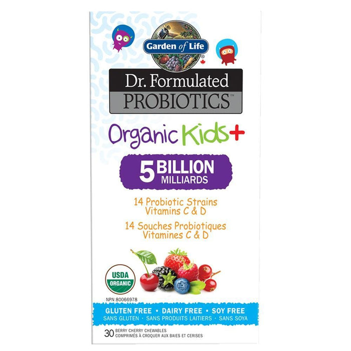 Garden of Life Dr. Formulated Probiotics Organic Kids+ 5 Billion Berry Cherry 30 Chewables