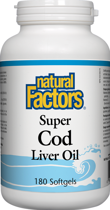 Natural Factors Super Cod Liver Oil, 180 Softgels