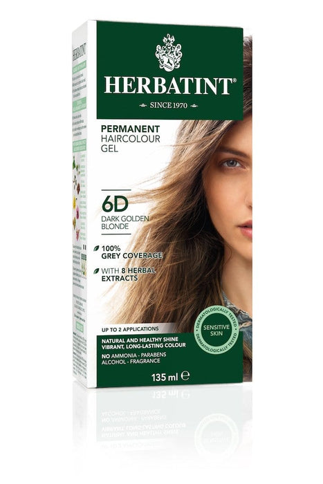 Herbatint Permanent Herbal Haircolor Gel - 6D Dark Golden Blonde