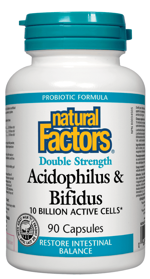 Natural Factors Acidophilus & Bifidus Double Strength 10 Billion Active Cells 90 Capsuless