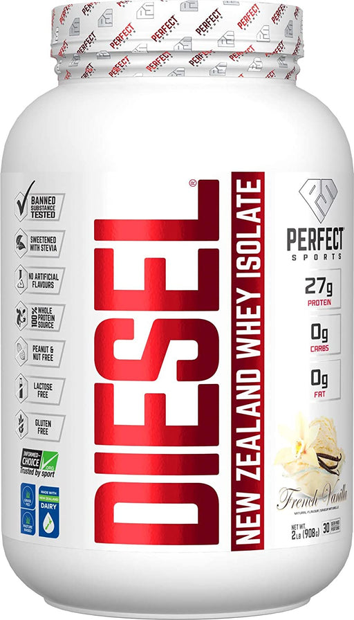 Perfect Sports Diesel New Zealand Whey Protein Isolate - French Vanilla 2 lb (908 g)