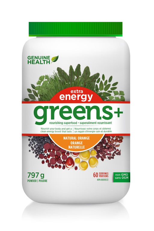 Genuine Health Greens+ Extra Energy - Orange Flavour