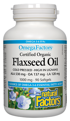 Natural Factors OmegaFactors® Certified Organic Flaxseed Oil 1000 mg